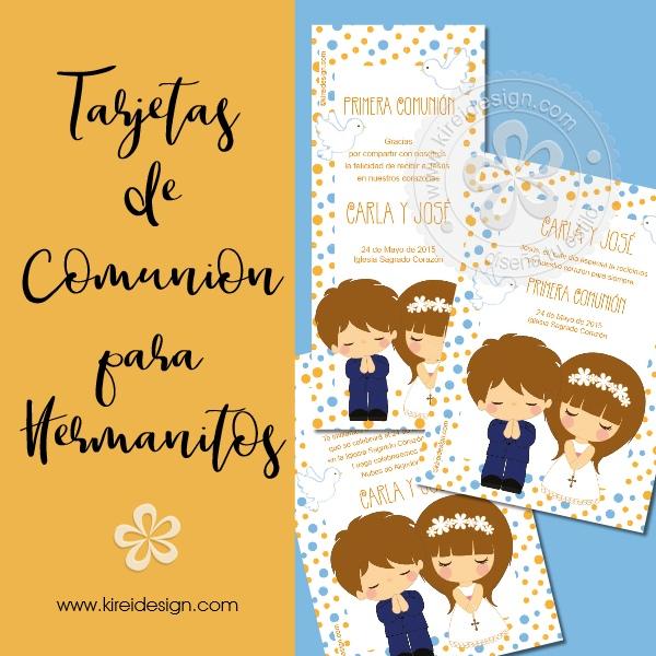 tarjeta comunion para niño y niña kireidesign