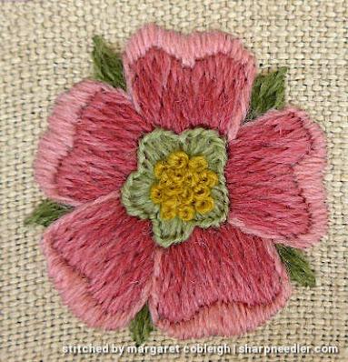 Crewel Sampler (by Elsa Williams): Rose detail