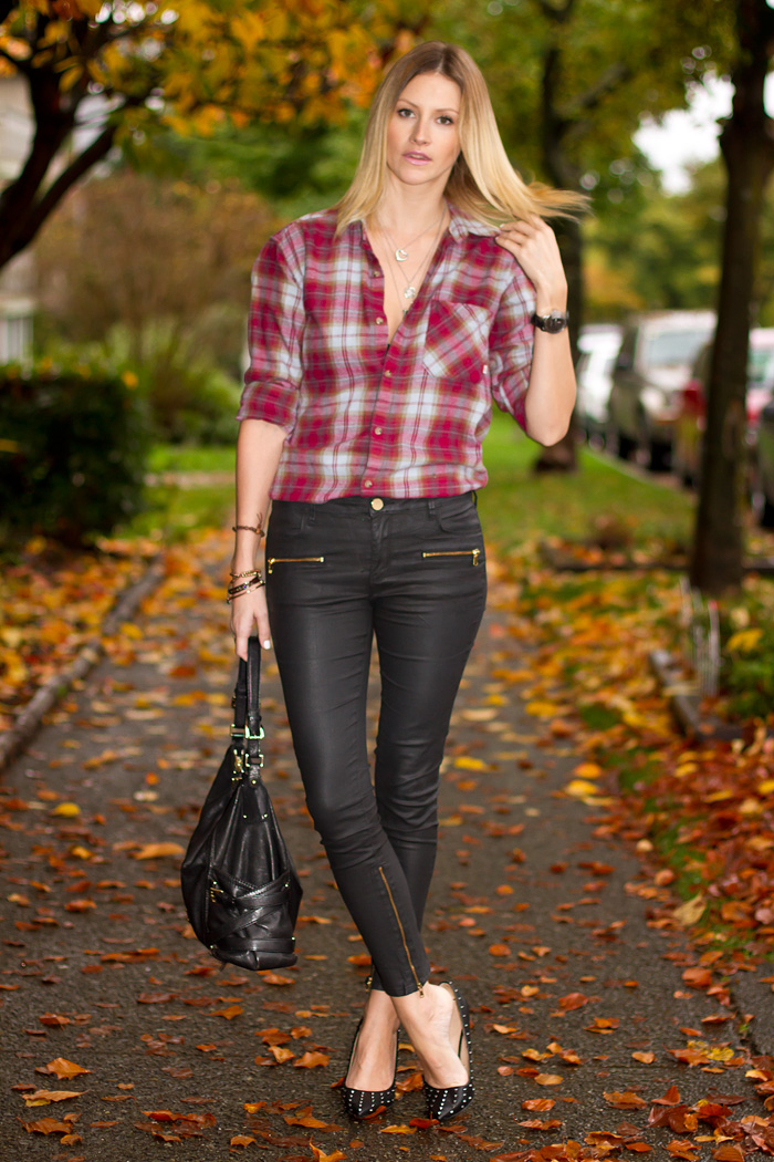 Vancouver Fashion Blogger, Alison Hutchinson, wearing Aritzia  red plaid flannel top, Zara wax coated denim pants, Zara spiked leather heels, Tiffany, La Dama and Pyrrha Necklaces, True Worth design and Givenchy Bracelets. Michael Kors Bag, and Kenneth Cole Watch