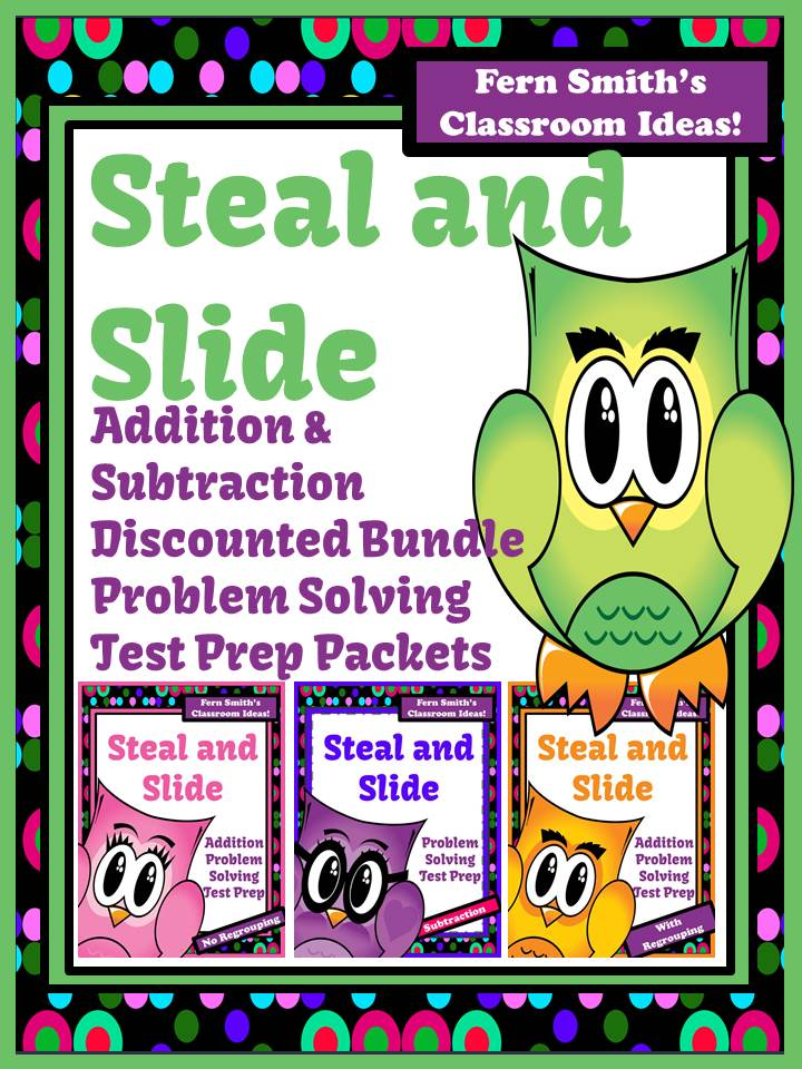 Fern Smith's Discounted Bundle Steal and Slide Test Prep Addition and Subtraction