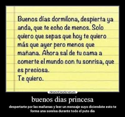 Buenos dias mi princesa, frases de feliz dia