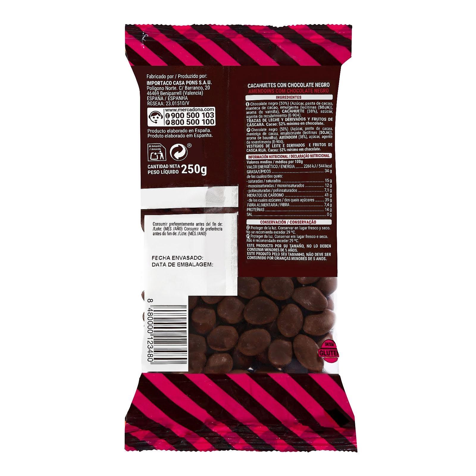 Cacahuetes recubiertos de chocolate negro Hacendado