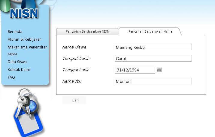 Cara mencari NISN dan nama siswa secara online