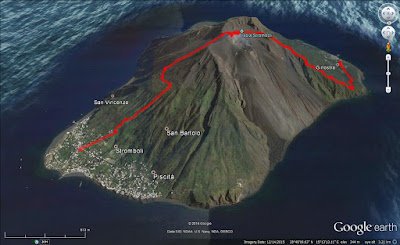 Hike route from Ginostra to the summit and back to Stromboli town.