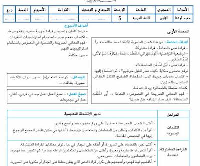 جذاذات الوحدة الخامسة و السادسة المستوى الثاني مرجع  مرشدي في اللغة العربية