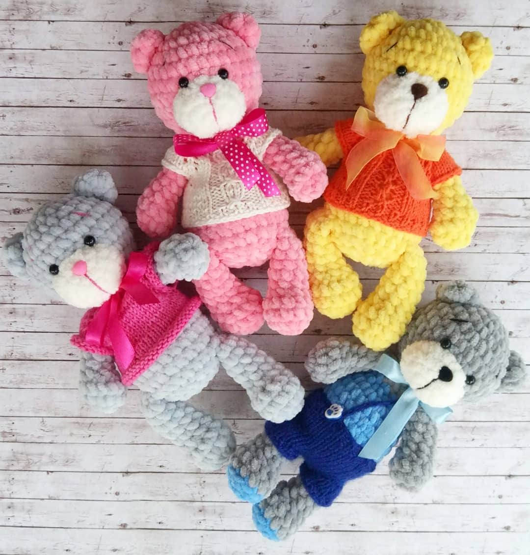 Crochet amigurumi pattern Plush Bears Brownie + Crochet outfit | 1131x1080