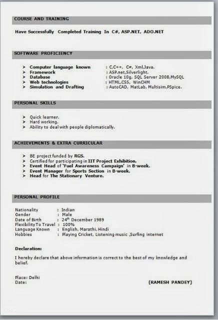 Job Resume Format For Freshers Pdf Best Resume Examples