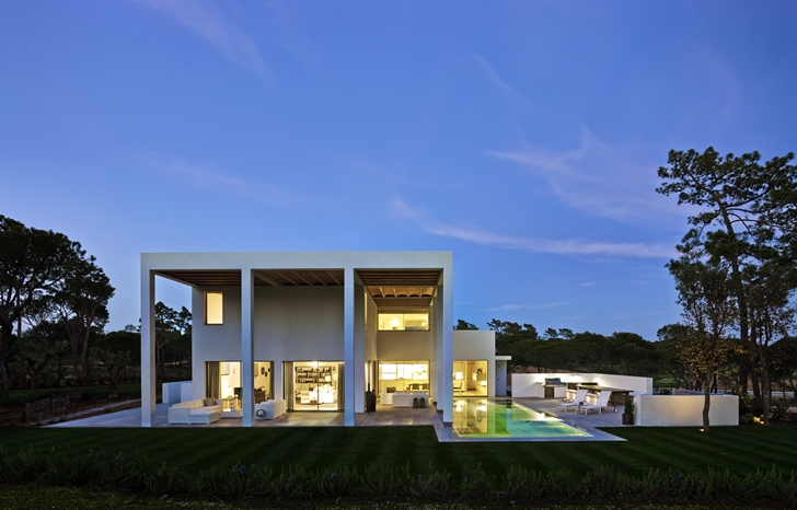 Simple modern home in Portugal at sunset