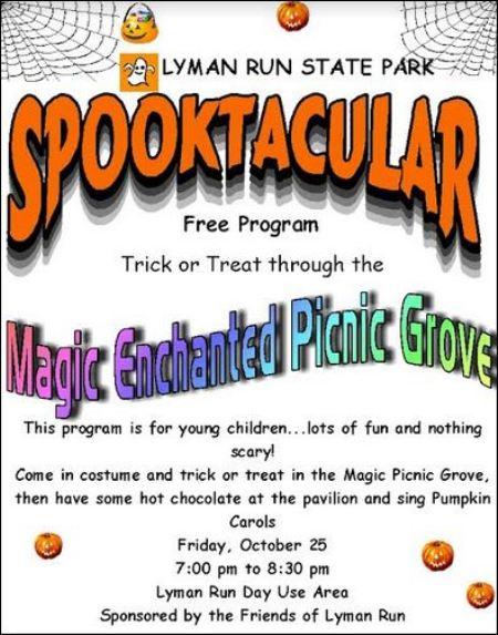 "10-25 ""Spooktacular"" at Lyman Run State Park"