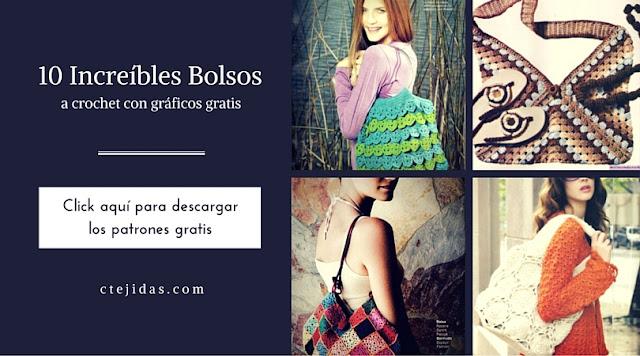 10 Increibles Bolsos a Crochet con gráficos