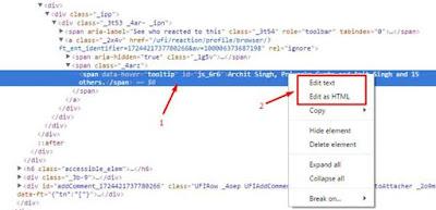 Facebook HTML page Edit Text Ya Edit HTML par Click kare
