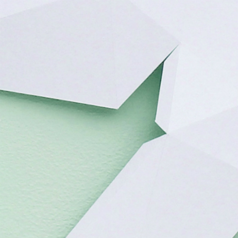 Detail view of cut, scored, and folded paper