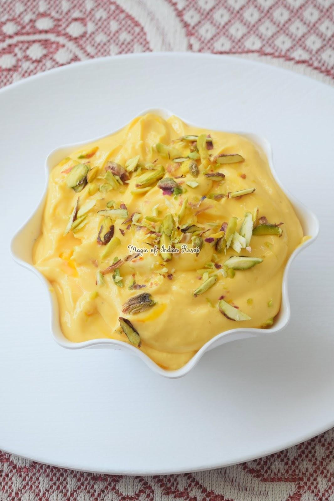 Mango Shrikhand - Amrakhand Recipe - मैंगो श्रीखन्ड- आम्रखंड रेसिपी - Priya R - Magic of Indian Rasoi