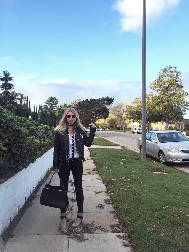 BLK DNM leather jacket, ASOS jeans, Chloé Baobab boots, Céline Edge bag