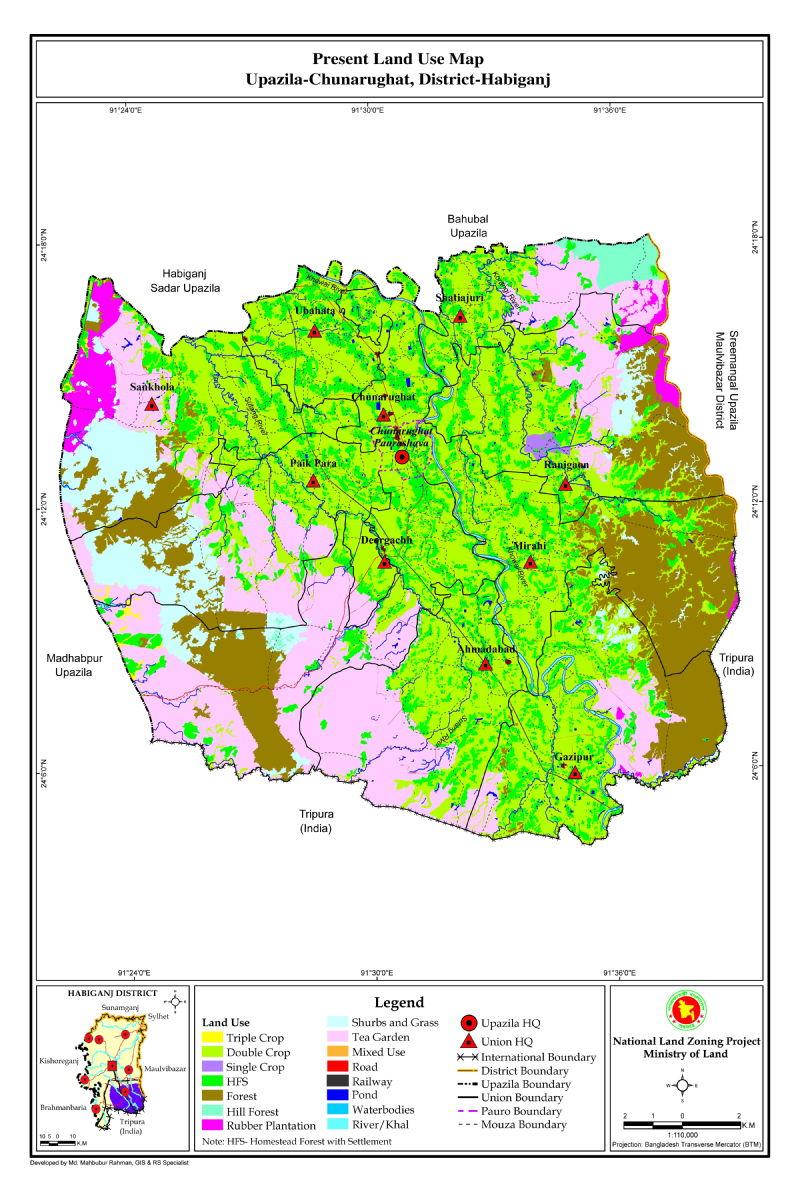 Chunarughat Upazila Mouza Map Habiganj District Bangladesh