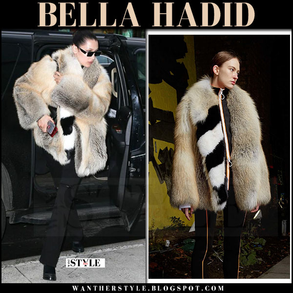 Bella Hadid in fur coat, black jeans and black ankle boots sol sana winona what she wore april 2017