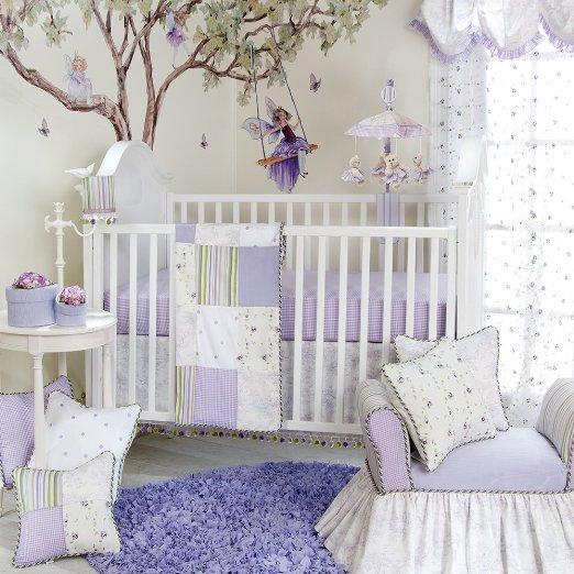 Lavender and Grey Crib Bedding Sets