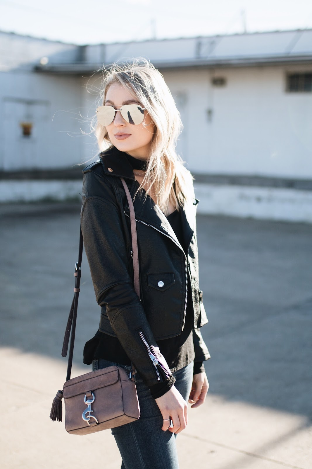black faux leather jacket, quay aviators