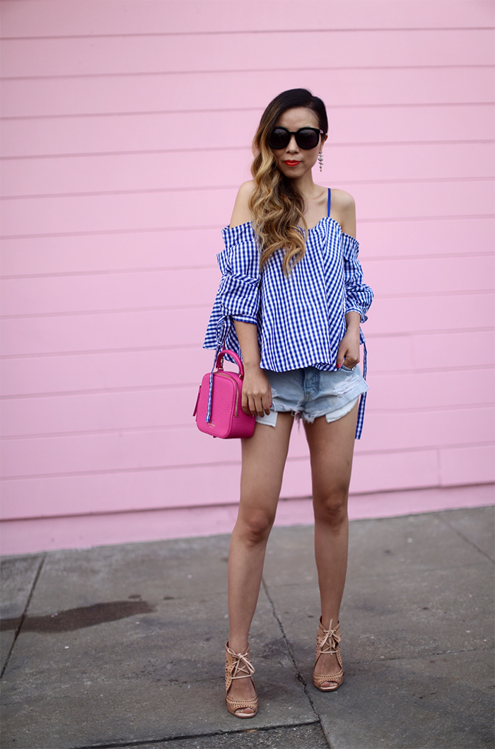 Chic wish cold shoulder gingham top, knotted top, off shoulder top, kate spade hot pink bag, karen walker super duper sunglasses, kendra scott earrings, one tea spoon shorts, jeffrey campbell wedge sandals, summer style in san francisco, san francisco street style