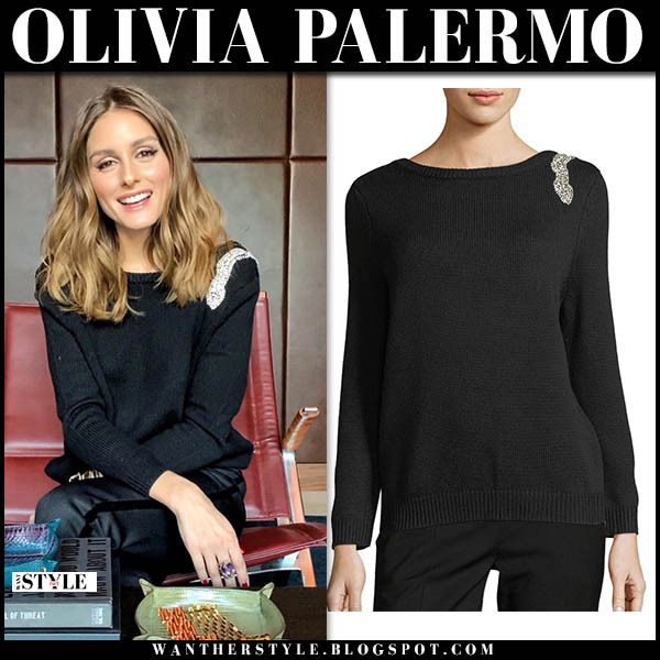 Olivia Palermo in black sweater with crystal embellished detail on shoulder ba&sh celebrity knitwear winter november 27