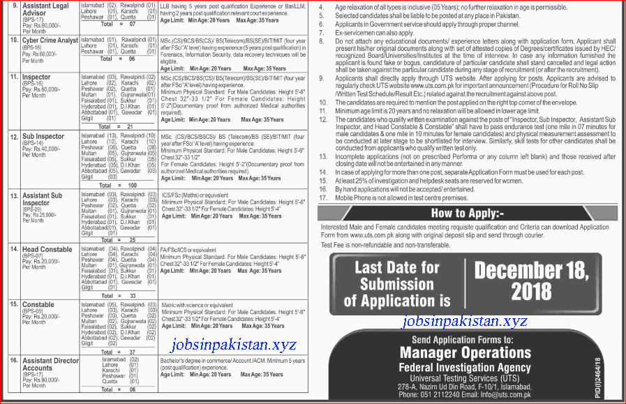 Advertisement for National Response Centre for Cyber Crime Jobs December 2018