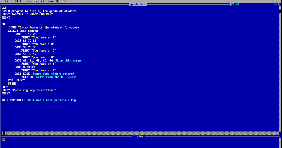 How To Create A Simple Grade Checker Program In Qbasic - Jackieriel-Soft