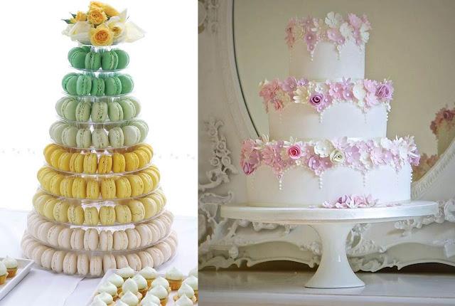 2017 tort nunta din macaroons si tort floral la moda