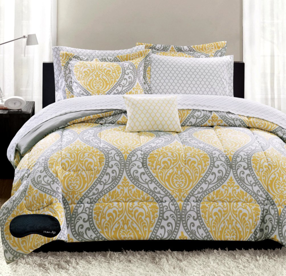 yellow and grey comforter sets and bedding. Black Bedroom Furniture Sets. Home Design Ideas