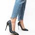 Pantofi eleganti cu toc inalt negri cu paiete ieftini de zi si de ocazii