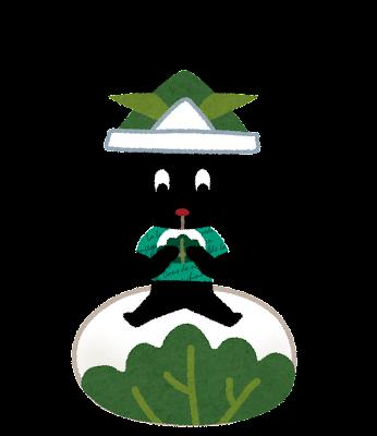 柏餅を食べるイラスト(ぴょこ)