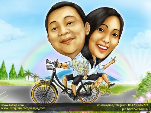 Karikatur Orang Naik Sepeda