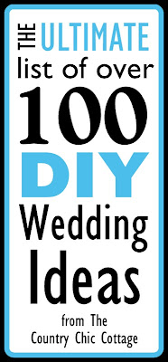 Get the ultimate list of over 100 DIY wedding ideas here! Tons of ideas for your ceremony, reception, and more!