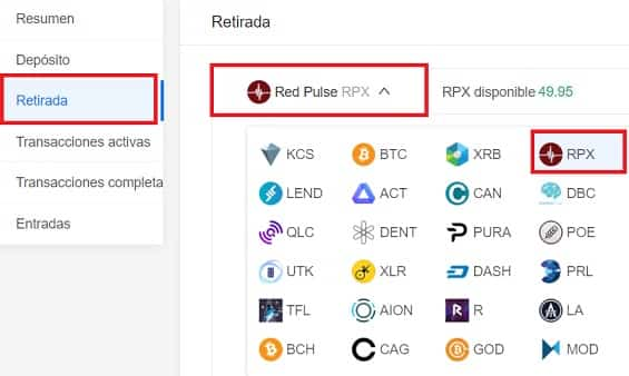 withdrawal wallet Red Pulse RPX
