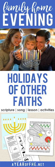 A Year of FHE // Check out this great Family Home Evening that teaches kids about the celebrations other faiths have during the holiday season. This is so great for kids in an area of little diversity so they can learn about and appreciate other cultures. Includes scripture, song, lesson and fun activities! #lds #familyhomeevening #diverstiy