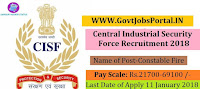 Central Industrial Security Force Recruitment 2018 – 332 Constable Fire