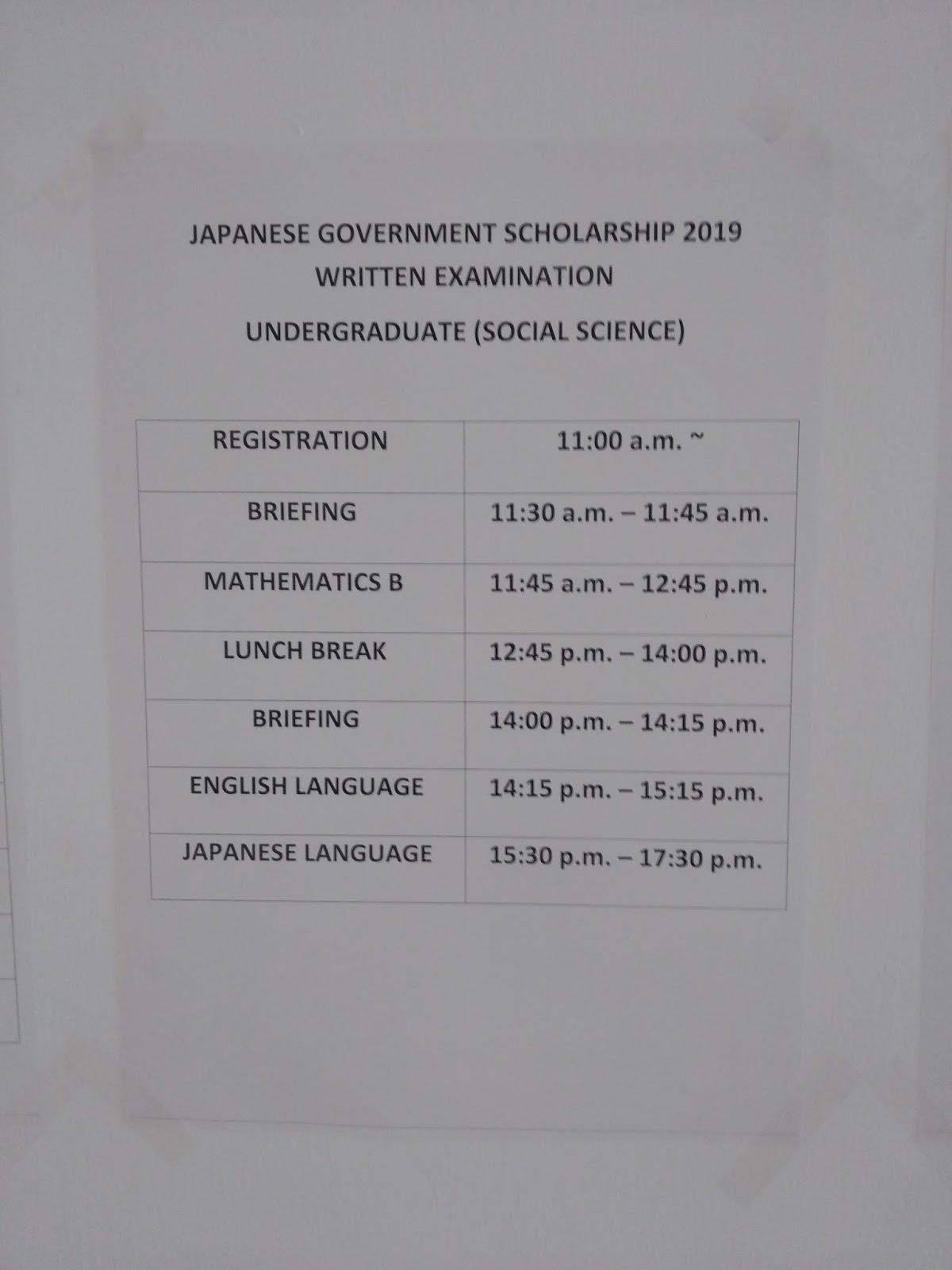 Japanese Government (Monbukagakusho) Scholarship 2019
