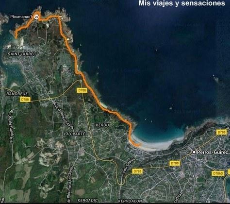 Mapa y ruta de la costa de Granito Rosa en la ruta de los aduaneros, Bretaña Francesa