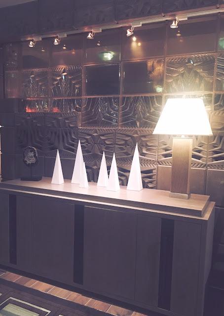 Frank Lloyd Wright-inspired decor outside Wright Restaurant