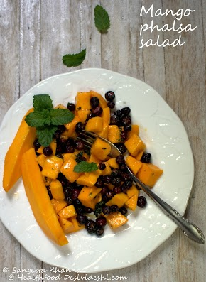 mango and phalsa salad with a hint of mint | a salad fit for dessert