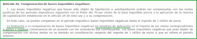 Artículo 26 Ley Impuesto Sociedades compensación bases imponibles negativas