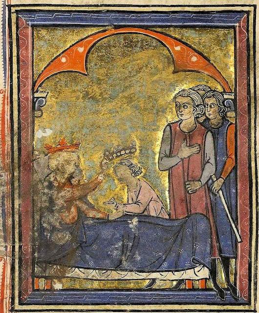 Balduíno IV passa a coroa a seu sobrinho Guy de Lusignan entre as intrigas da Corte