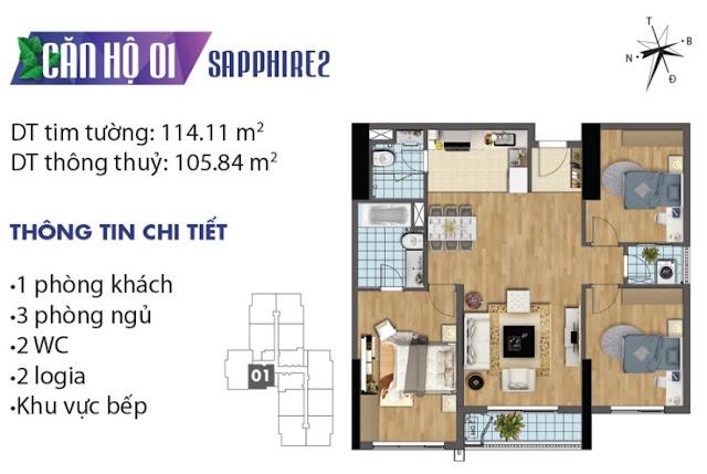 Thiết kế căn hộ số 1 tòa Sapphire 2
