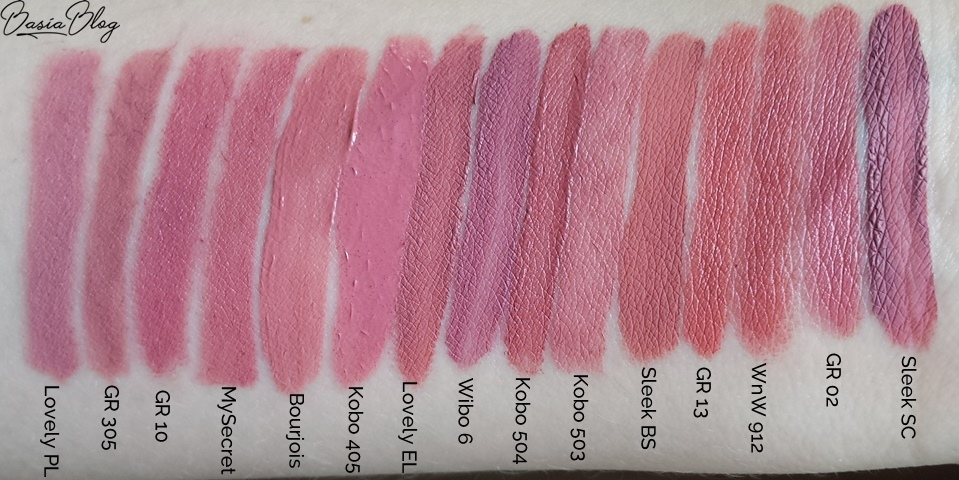 nude lipstick swatch, pomadki w kredce, kredki do ust, konturówki do ust, pomadki w płynie, pomadki zastygające, matowe pomadki w płynie, pomadki w sztyfcie, pomadki nude, nudziaki, pomadki brudny róż, szminki na co dzień, szminki do pracy, szminki do szkoły, eleganckie pomadki, delikatne odcienie pomadek, różowa pomadka, Lovely Perfect Line 1, Golden Rose Classics Waterproof Lipliner 305, Golden Rose Matte Lipstick Crayon 10, My Secret I love matte lips 03, Bourjois Rouge Edition Velvet 10 Don't pink of it, Kobo Matte Liquid Lipstick 405 passiflora tea, Lovely Extra Lasting 1, Wibo Million Dollar Lips 6, Kobo Matte Lip Stain 504 Natural Beauty, Kobo Matte Lip Stain 503 Pinky Nude, Sleek Matte Me Birthday Suit, Golden Rose Matte Lipstick Crayon 13, Wet n wild E912C In the flesh, Golden Rose Velvet Matte Lipstick 02, Sleek Matte Me Shabby Chic