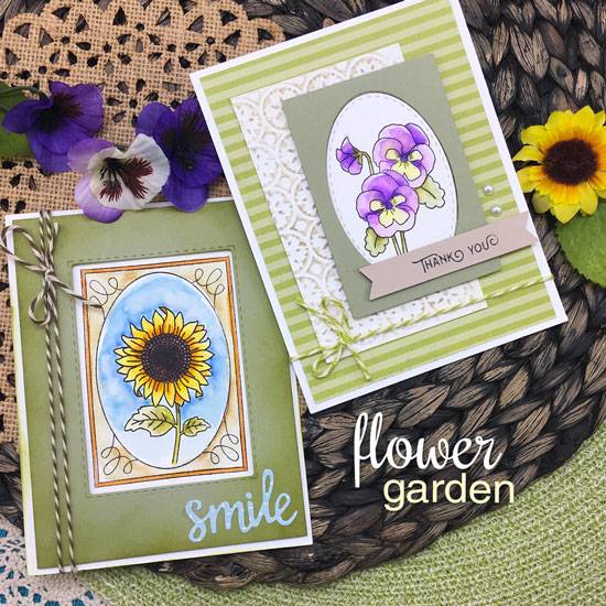 Sunflower and Pansy Cards by Jennifer Jackson | Flower Garden Stamp set by Newton's Nook Designs #newtonsnook