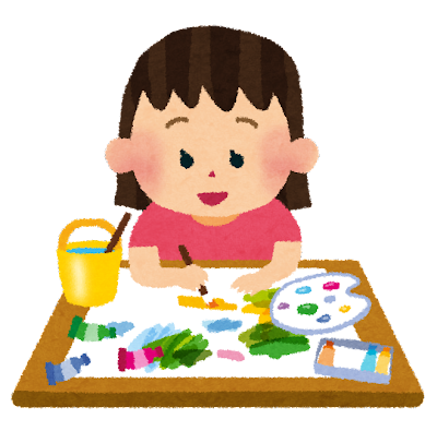 絵の具で絵を書いている女の子のイラスト