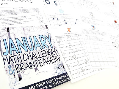 Print-and-go math challenges and brainteasers with a winter theme for January! Use these 21 NO PREP math printables with answer keys for math groups, homework, fast finishers, monthly centers, enrichment contracts or whole class problem solving. January themes include: penguins, sledding, Super Bowl, Martin Luther King, yeti, polar bears, and snow Recommended as a challenge for grades 2-3
