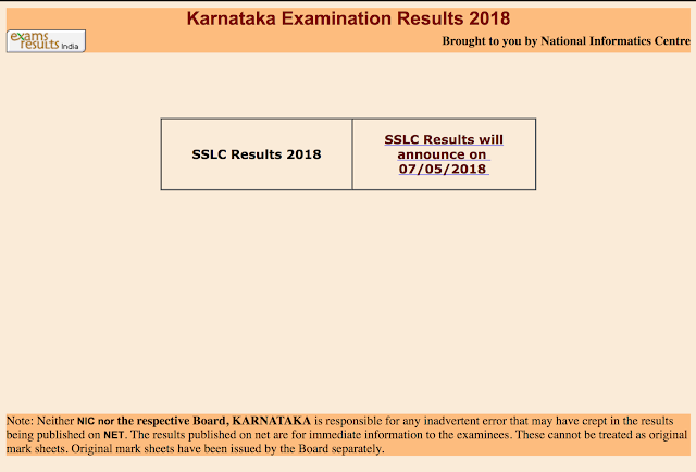 SSLC Result 2018 Karnataka (Karnataka SSLC Results)