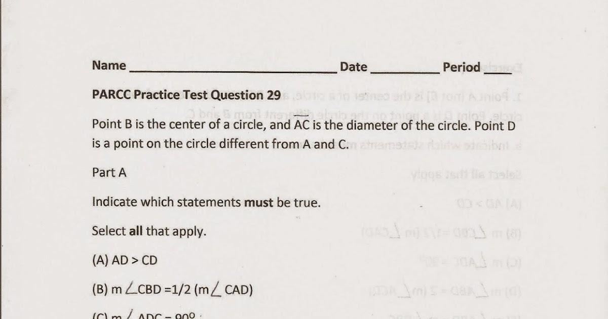 Geometry, Common Core Style: PARCC Practice Test Question 29