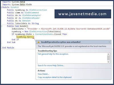 Mengatasi The Microsoft.ACE.OLEDB.12.0 provider is not registered on the local machine