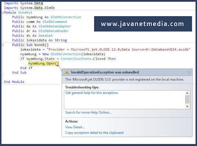 Mengatasi The Microsoft.ACE.OLEDB.12.0 provider is not registered on the local machine Pada VB .NET
